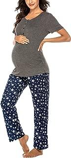 Women's Maternity Nursing Pajamas Sets Breastfeeding Printed Sleepwear Short Sleeve 2 Pcs Henley Top and Pants Set
