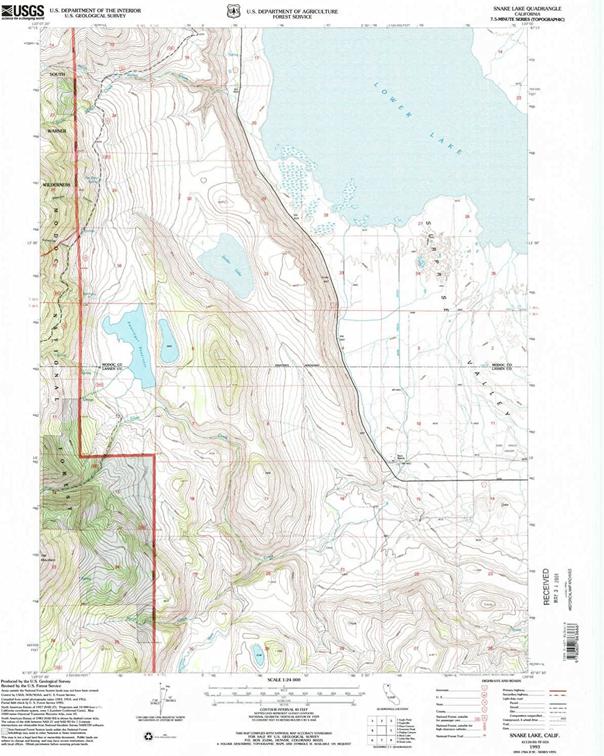 Snake Lake CA topo map, 1 24000 Scale, 7.5 X 7.5 Minute, Historical, 1993, Updated 1996, 26.7 x 22 in