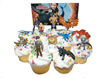 How to Train Your Dragon Set of 12 Figure Cake Toppers/Cupcake Party Favor Decorations with 9 Dragons, Hiccup, Astrid and Some New Characters!