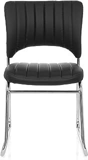 hjh OFFICE 706801 CASPI V PU silla de confidente piel sintética negro silla visitante cromado