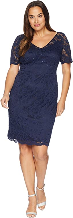 Plus Size Short Sleeve Stretch Lace Cocktail Dress with Scattered Beads