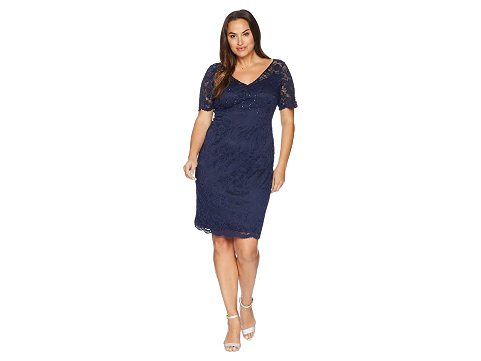 Adrianna Papell Plus Size Short Sleeve Stretch Lace Cocktail Dress with Scattered Beads (Midnight) Women