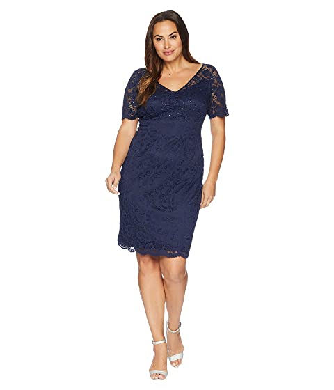 Adrianna Papell Plus Size Short Sleeve Stretch Lace Cocktail Dress