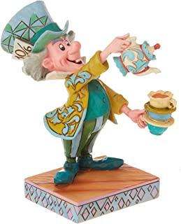 Disney Traditions by Jim Shore Mad Hatter from Alice in Wonderland Figurine A Spot of Tea, 4.92 Inch, Multi Color (6001273)