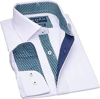 Kids Inner Contrast Long Sleeve Cotton Blend Boys Dress Shirt