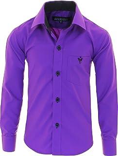 GILLSONZ A7vda - Camicia per bambini, a maniche lunghe, facile da stirare, 10 colori, taglia 86bis158