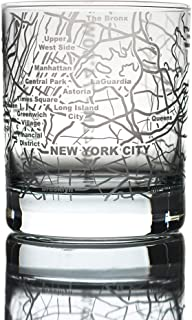 Greenline Goods Whiskey Glasses - 10 Oz Tumbler for New York Lovers (Single Glass) | Etched with New York Map | Old Fashioned Rocks Glass