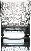 Greenline Goods Whiskey Glasses - 10 Oz Tumbler for New York Lovers (Single Glass)   Etched with New York Map   Old Fashioned Rocks Glass