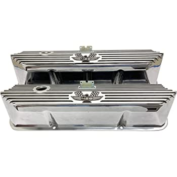 Compatible with Ford FE Tall All Fins Black Die-Cast Aluminum Valve Covers