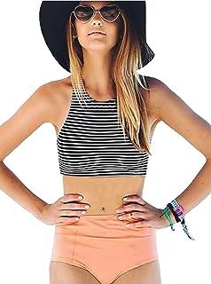 ZITY Women's Girls Striped Mesh High Waisted Bikini Set Swimsuits