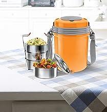 Milton Electron Stainless Steel Tiffin Box Set, 360ml/158mm, Set of 4, Orange