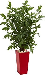 Nearly Natural 5633 4.5' Fishtail Palm Tree in Red Planter Artificial Plant, Green