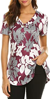 Sweetnight Women Floral Print V Neck Button Decor Peasant Summer Swing Tunic Tops Shirts