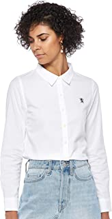 Giordano Women's 05349083 Women Cotton Oxford Shirt with Lion Embroidery.