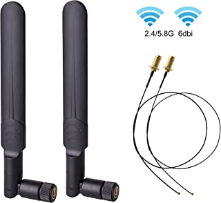 2 x 6dBi 2.4GHz 5GHz Dual Band WiFi RP-SMA Male Antenna+2 x 35CM RP-SMA IPEX MHF4 Pigtail Cable for M.2 NGFF WiFi WLAN Card