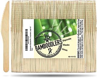 BAMBOODLERS Cuchillos de Madera Desechables | 100% Natural, Ecológicos, Biodegradables y Compostable- ¡Porque la Tierra es un Lugar Asombroso! Paquete de 100 cuchillos (16.5 cm)