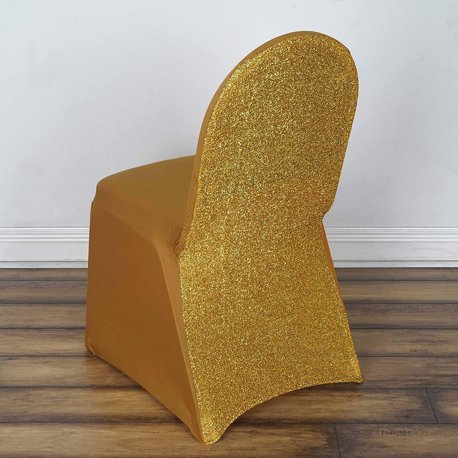 1//4PCS Gilding Spandex Chair Covers Wedding Party Arched front Metal Gold Silver