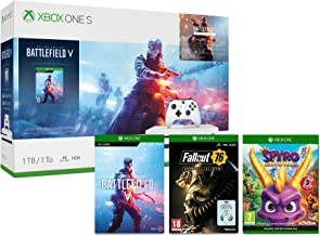 Xbox One S 1TB Battlefield V console + Spyro Trilogy Reignited + Fallout 76: S.*.*.C.*.*.L. Edition (Game + 3 Pin Badges) ...