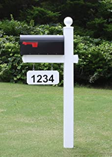 4EVER The Monroe Vinyl/PVC Mailbox Post (Includes Mailbox) Complete Decorative Curbside Mailbox System with Classic Traditional Style (Black Mailbox)