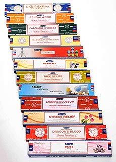 Satya Nag Champa Incense Set /12: Nag Champa, Sandalwood, Patchouli Forest, California White Sage, Chakra, Harmony, Tree of Life, Aroma Therapy, Jasmine Blossom, Stress Relief, Dragon s Blood & Bliss
