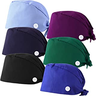 Syhood 6 Pieces Bouffant Caps with Buttons and Sweatband Adjustable Gourd-Shaped Tie Back Hats for Women Men