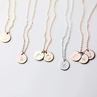 Upper case P IN-601-RG  2 Pcs Tiny Initial Circle Charm Mini Letter Charm Initial Tag Rose Gold Plated over 925 Sterling Silver  3mm