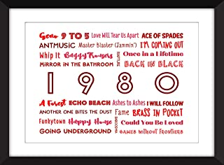 1980 in Music - Ideal Gift for 40th Birthday - Unframed Typography Print/Imprimir sin marco