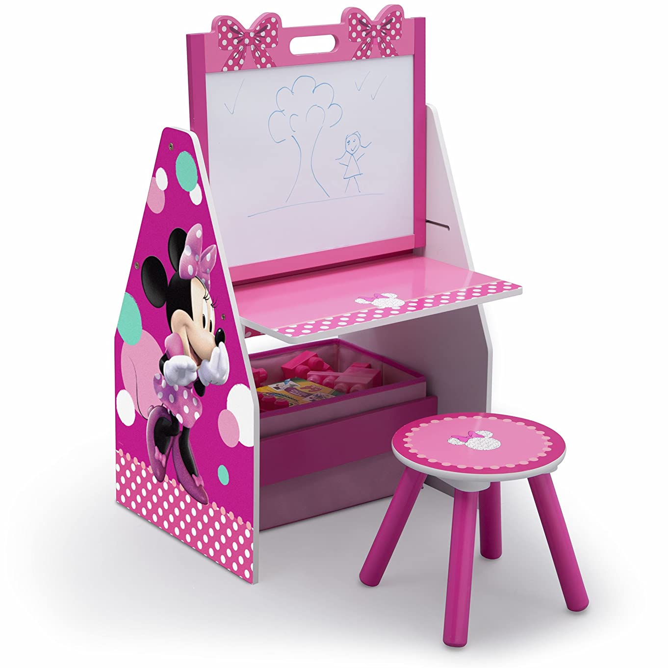 Delta Children Deluxe Kids Art Easel Desk Stool Toy Table Organizer, Disney Minnie Mouse