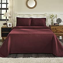 Superior 100% Cotton Basket Weave Bedspread with Shams, All-Season Premium Cotton Matelassé Jacquard Bedding, Quilted-look...