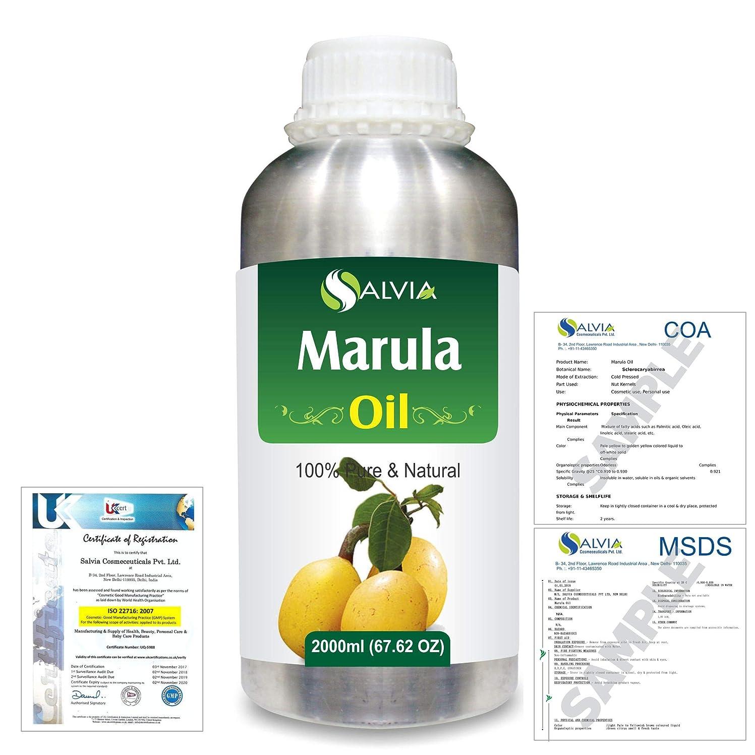 期間失礼なコロニアルMarula (Sclerocarya birrea) Natural Pure Undiluted Uncut Carrier Oil 2000ml/67 fl.oz.