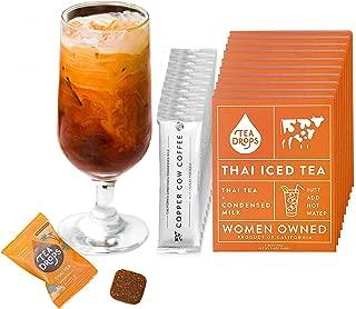 Tea Drops Thai Iced Tea   Authentic Instant Thai Tea Mix Bundle   Flavored Black Ice Tea + Condensed Milk Packet   Loose Leaf Tea 10 Pack