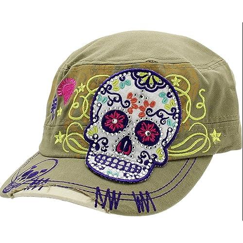 fec11e8a192 Khaki Sugar Skull Cross Flowers Rhinestone Day of Dead Fashion Cadet Army  Style