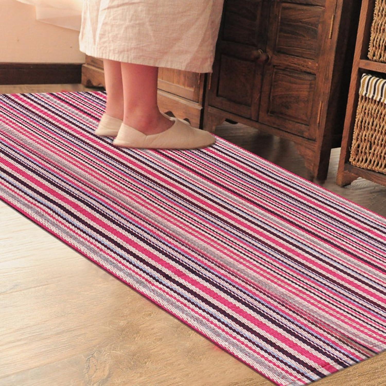 Cotton Knit Small mats Kitchen Bedroom Restroom Bathroom Door Absorbent Fabric mats Doormat Foot Pad-J 60x180cm(24x71inch)