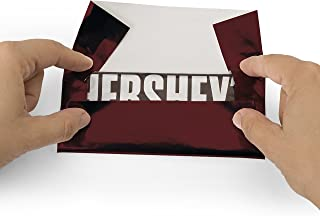 Foil Wrapper (Burgundy) - Pack of 100 Candy Bar Wrappers with Thick Paper Backing - Folds and Wraps Well - Best for Wrapping 1.55Oz Hershey/Candies/Chocolate Bars/Gifts - Size 6