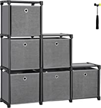 SONGMICS Ladder Storage Unit, 6 Cubes with Storage Boxes, DIY Closet Organiser, Multifunctional with Modular Sturdy Metal Frame, Includes Rubber Mallet, 41.3 x 11.8 x 41.3 Inches, Black