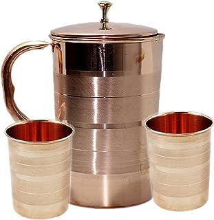 PARIJAT HANDICRAFT Pure Copper Water Pitcher Jug Set 2 Water Glasses Cup Tumbler Jug Capacity 54 Ounce Glass Capacity 10 O...