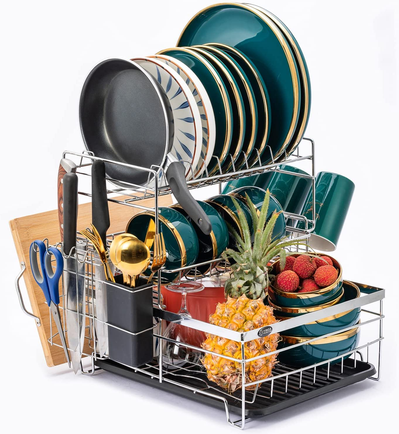 3 Tier Dish Rack and Drainboard Limited price Award-winning store with Drying Set Utens