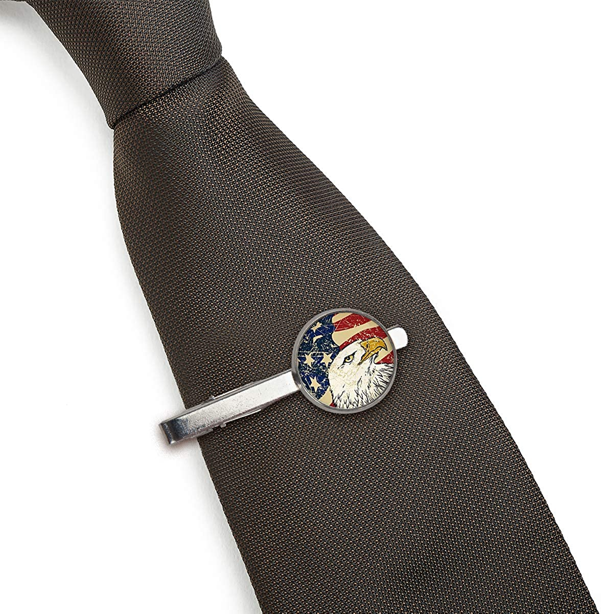LooPoP Men Tie Clip Eagle USA National Flag Stainless Tie Pins for Business Wedding Shirts Tie Clips Include Gift Box