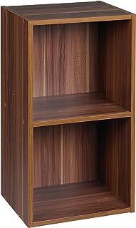 Urbn Living® 1, 2, 3, 4pisos de madera estantería estantería estantería de madera de almacenamiento, Teak, 2 niveles