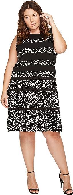 Plus Size Cheetah Paneled Sleeveless Dress