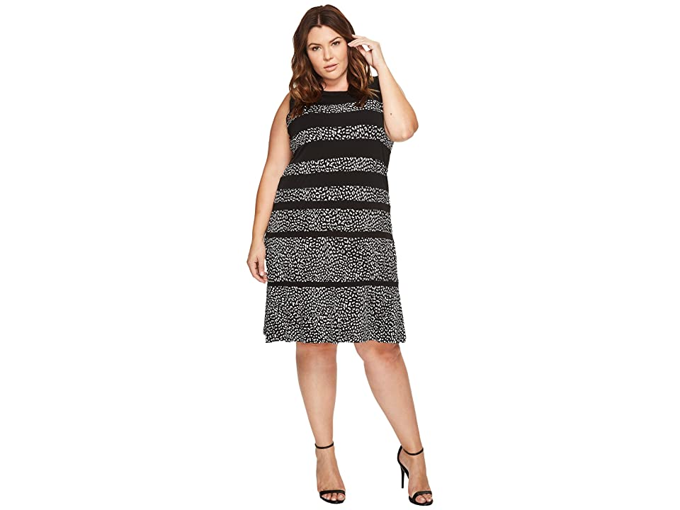 MICHAEL Michael Kors Plus Size Cheetah Paneled Sleeveless Dress (Black) Women