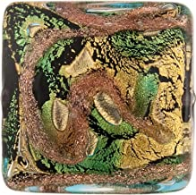 Aqua & Aventurina 24kt Gold Foil Sospire, 24mm Square, Murano Glass Bead