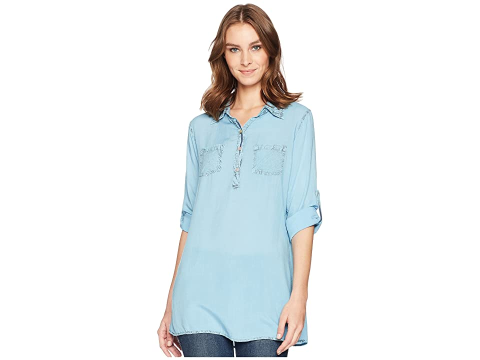 Scully Bina Sexy Fabric Button Front Blouse (Blue) Women