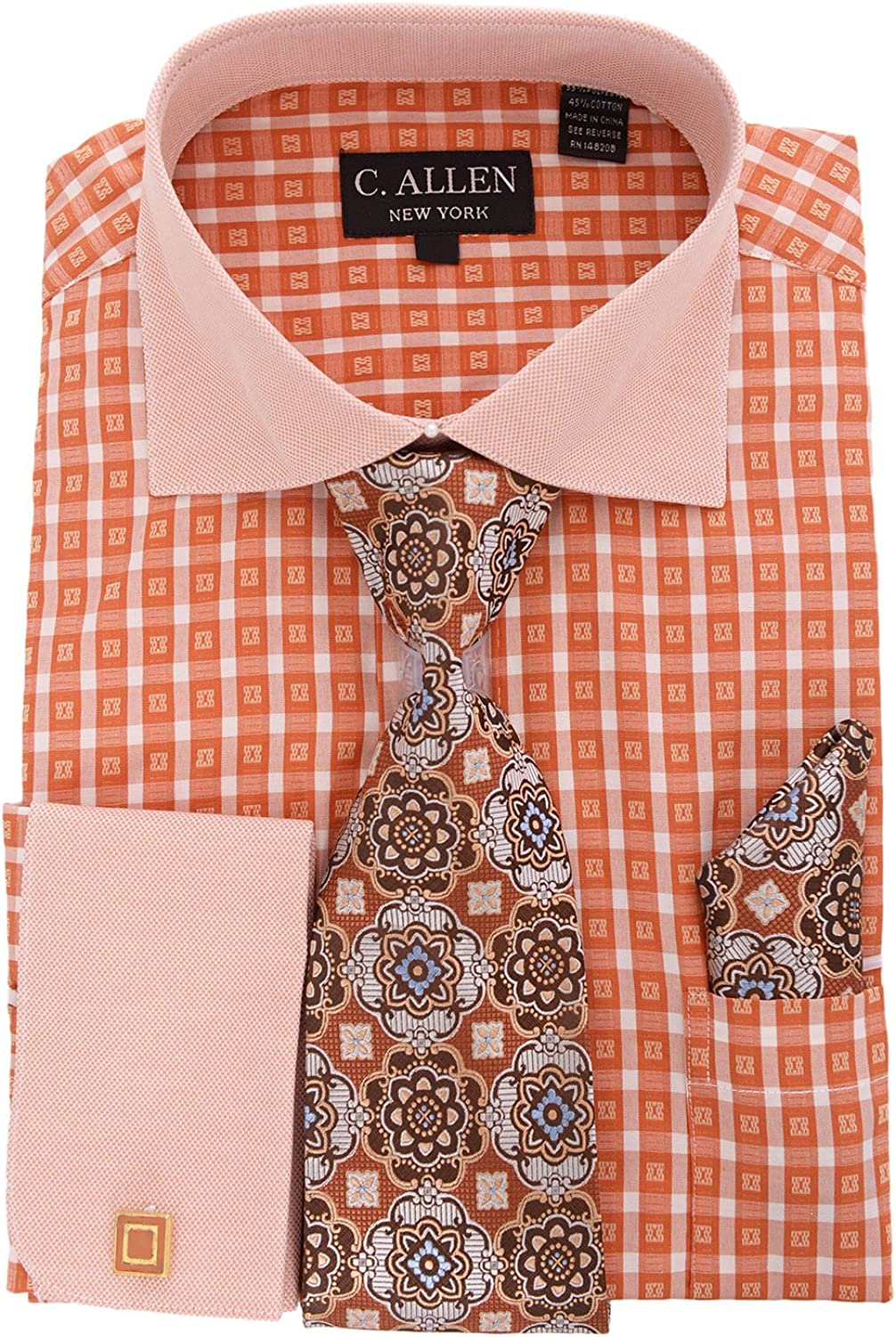 C Allen orange Plaid Spread Collar French Cuff Cotton Dress Shirt Tie Hankie SetORG19.5 67