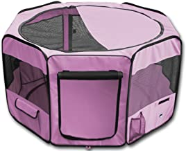 """YoYo Moon 45"""" Pet Puppy Dog Playpen Exercise Puppy Pen Kennel 600d Oxford Cloth Pink"""