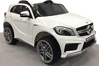 RIRICAR Mercedes-Benz A45 AMG, Blanco, Licencia Original, Alimentación por batería, Puertas de Apertura, Asiento de Cuero, Motor 2X, Batería de 12 V, Mando a Distancia de 2,4 GHz