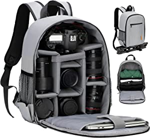 TARION Camera Bag Professional Camera Backpack Case with Laptop Compartment Waterproof Rain Cover for DSLR SLR Mirrorless Camera Lens Tripod Photography Backpack for Women Men Photographer Grey TB-S