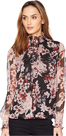 Long Sleeve Blooms Smocked Neck/Cuff Fold-Over Blouse