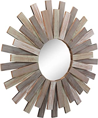 "Stonebriar Large Round 32"" Wooden Sunburst Hanging Wall Mirror with Attached Hanging Bracket, Decorative Rustic Decor for the"