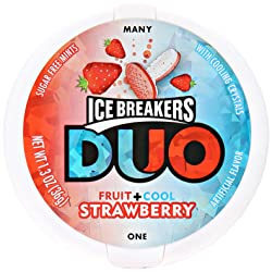 ICE BREAKERS Duo Sugar Free Mints, Strawberry, 1.3 Ounce